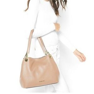Michael Kors Raven Oyster Leather Shoulder Tote